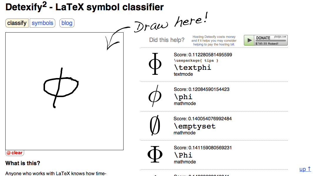 Classifying Latex Symbols Calculis Knowledge Database